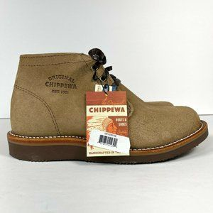 Chippewa Milford Men's Size 7.5 E Wide Chukka Boot Made in USA Tan Suede Leather